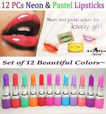 12 Pcs Neon & Pastel Lipsticks - Full Set of New Colors from Italia Deluxe *Us*