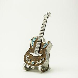 Guitar Faberge Trinket Box Handmade by Keren Kopal Austrian  Crystals