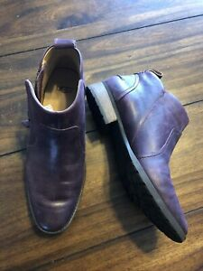 UGG Australia Womens 7.5 38.5 Leather Booties Ankle Boots Plum Wood Heel Zipper
