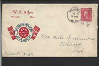 """MCCOMB, MISSISSIPPI COVER,1922.  ILLUST RED ADVT: """"W.S. ALLEN"""" with RED SEAL"""