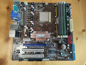 ASUS M3N78-CM Mainboard mit 4x2GB DDR2 RAM und AMD Phenom Prozessor mit Kühler