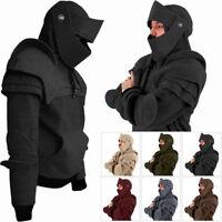 Men/'s Riding Hoodie With Mask Retro Elbows Drawstring Hooded Sweatshirts M-3XL