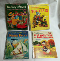 LOT OF 4 VINTAGE WALT DISNEY LITTLE GOLDEN BOOKS DONALD DUCK MICKEY MOUSE 1950'S