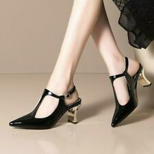 Women's Patent Leather Pointed Toe T-Strap Slingback Mid Heel Sandal Shoes MOON