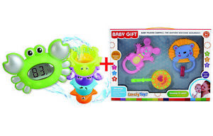 Baby Rattle and Digital Bath Thermometer Set Crab Toys Girls Boys Gift boxes