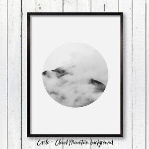 Circle Mountain Print Scandi Minimalist Wall Art Poster Modern Scandinavian