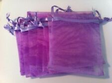 "10 Organza Purple Gift Bags w/ Satin Drawstrings 4""x5"""