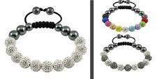 11 Genuine Crystal Balls SATURN SHAMBALLA BRACELET - White, Silver, Grey, Gold
