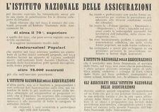 Z1093 Istituto Nazionale delle Assicurazioni - Pubblicità d'epoca - 1934 Old ad