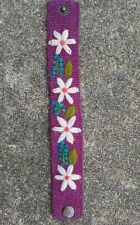 Flowered Peruvian Handmade Brazalete Embroidery/ Black And White Fashion Jewelry Green