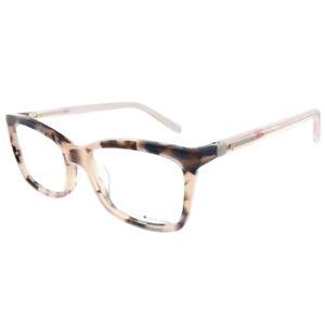 New Kate Spade Cortina RS3 Havana Pink Plastic Rectangle Eyeglasses 50mm