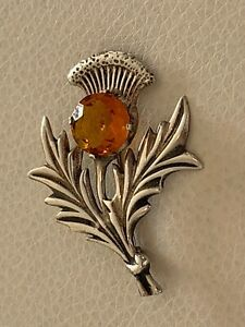 Vintage Scottish Thistle Flower Sterling Silver and Cairngorm Stone Brooch Pin