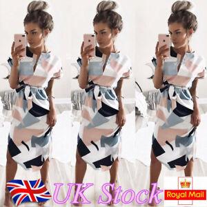 Plus Size Womens Summer V-Neck Midi Dress Ladies Beach Casual Loose Boho Dresses