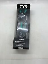 Tyr Gray/Teal Velocity Adult Fit Swim Goggles Swimming Low Profile Design New