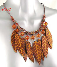 Tribal Ethnic Indian Hippy Boho Brown Leather Leaves Tassels Wood Beads Necklace
