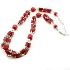 Necklace natural red rhinestone gemstone beaded handmade beautiful  67 grams