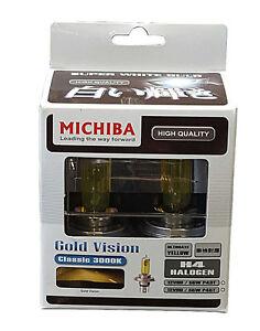 Michiba H4 12v 55w 3000K Gold Vision Bulbs (Yellow)