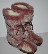 BEBE Genuine Rabbit Fur PINK Winter Boots Shearling Lined Made in Spain - Size 6