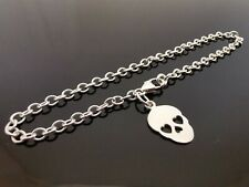 "3mm Genuine 925 Sterling Silver Bracelet Chain ~ Sugar Skull Charm 7.5"" (19cm)"