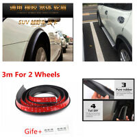Black 3M  Rubber Car Fender Flare Wheel Eyebrow Protector Arch Trim Strip 3D