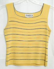 Joseph A. Blouse Sz Large Yellow Knit Sleeveless w/Multi Color Stripes