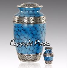 New Metal Cremation Urn, Classic Ocean Fire and Silver- Adult Urn~Free Keepsake