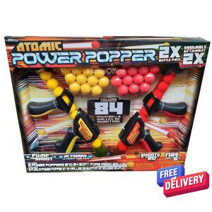 2 Power Popper Pump Guns Plus 84 Soft Balls Kids Shooting Game