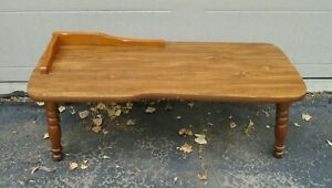 Vintage Mid Century Country Cobbler Faux Distressed Design Wood Coffee Table