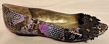 Bandolino Open Toe Womens Dress Shoes Black & Purple w/ Floral Details 9 Med