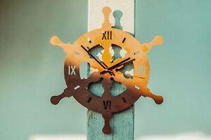 Wanduhr Uhr  Steuerrad Ruder aus Metall Wanddeko Gartendeko