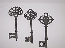Set of 3 Vintage Cast Iron Skeleton Keys 12 Inches Wall Decor