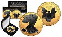 2017 1 oz Silver $1 BLACK EAGLE Ruthenium Blackout 24K Gold Gilded US Coin w/BOX