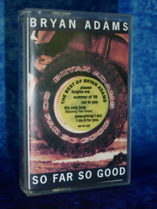 BRYAN ADAMS So Far So Good RARE AUDIO CASSETTE TAPE Hard Rock & Pop 80/90s Music