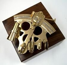 """6.5"""" SEXTANT BRASS IN WOODEN BOX ~ NAUTICAL MARITIME DECOR ~ PIRATE ~ ASTROLABE"""