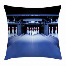 Bowling Party Throw Pillow Case Symmetrical Pins Square Cushion Cover 16 Inches