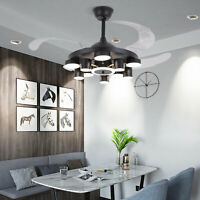 """42"""" LED Invisible Ceiling Fan Light Black Acrylic Dimmable Chandelier w/ Remote"""