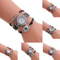 Girl Women's Dress Watch Crystal Quartz Leather Bracelet Wrist Watch Gift