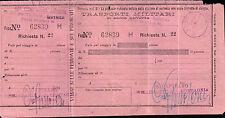 RARO BIGLIETTO FERROVIARIO MILITARE DIV. FANTERIA MESSINA - P.M. 91 C5-146