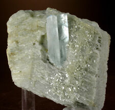 GEM-CLEAR AQUAMARINE BERYL CRYSTAL IN ALBITE MATRIX, SHIGAR VALLEY, PAKISTAN