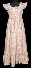 Vintage 60s MAXI DRESS White Neon Pink Orange Flower Power Floral High Waist -XS
