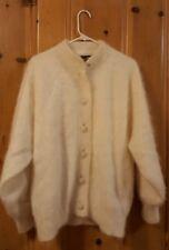 Fuzzy White Angora Sweater Lined Venesha Button Cardigan Womens Size Large