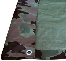 Reversible Woodland Camo Green 4 mil Poly Tarp Cover Hunting Camp Blind Boat ATV