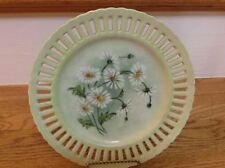 "Vintage Cut Out Decorative Plate 8 1/4"" Hand Painted Daisies R.A.1956 Beautiful!"