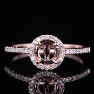 5mm Round Real Diamonds Ring Wedding Semi Mount Solid 10K Rose Gold Jewellery