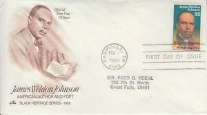 1988 #2371 JAMES WELDEN JOHNSON BLACK HERITAGE FDC ART CRAFT CACHET GEM!