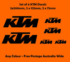 KTM Moto Stickers Set of 6 Motorbike Decals New Outdoor Grade Vinyl Any Colour