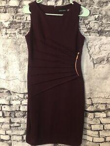 Ivanka Trump Sleeveless Stretch Knit Purple Sunburst Pleated Sheath Dress Size 6