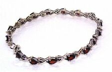 Garnet Bracelet  Sterling Silver  NATURAL 6 carats 7.5 in Cocktail Look Clubwear