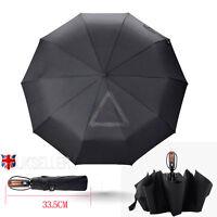 Fiberglass Windproof Vented Auto Open & Close Mens Ladies Black Umbrella NEW