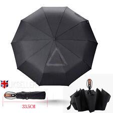Fiberglass Windproof Vented Auto Open & Close Mens Ladies Black Umbrella 10 ribs